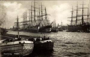 Ak Hamburg, Hafenpartie, Segelschiffe, Binnenschiffe