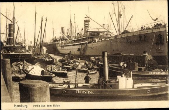 Ak Hamburg, Hafenpartie, Schlepper Christine und Königslieb 0