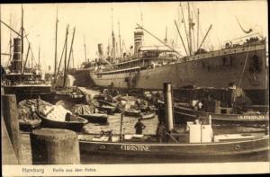 Ak Hamburg, Hafenpartie, Schlepper Christine und Königslieb