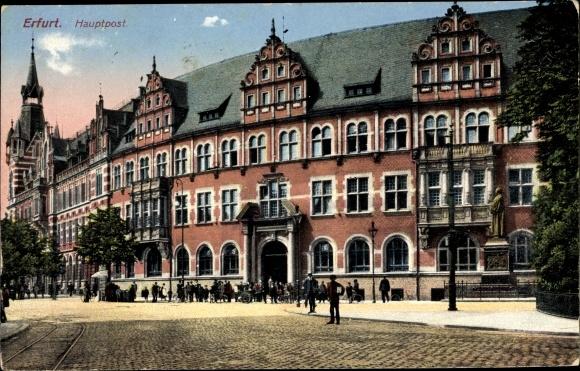 Ak Erfurt in Thüringen, Hauptpost, Denkmal 0