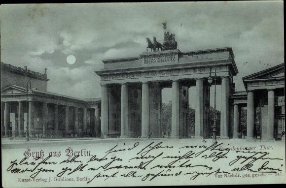 Mondschein Ak Berlin Mitte, Brandenburger Tor 0