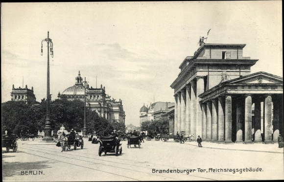 Ak Berlin Tiergarten, Brandenburger Tor, Reichstagsgebäude 0