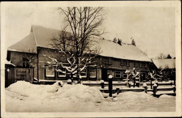 Ak Trautenstein Oberharz am Brocken, Gasthaus Bergeshöh im Schnee 0
