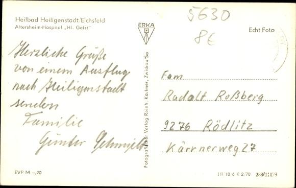 Ak Heilbad Heiligenstadt Eichsfeld Thüringen, Altersheim Hospital Hl. Geist 1