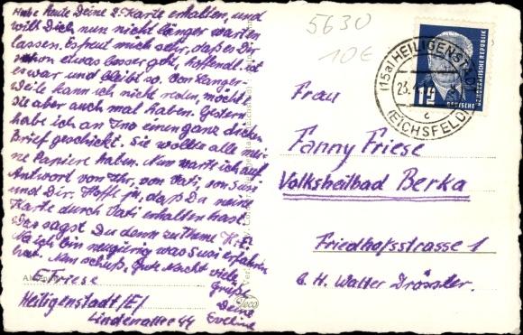 Ak Heiligenstadt Eichsfeld Thüringen, Friedensplatz mit ehem. Schloss und Martinskirche 1