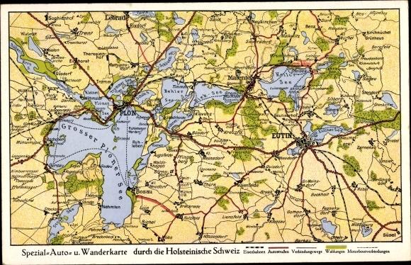 Landkarten Ak Eutin in Ostholstein, Holsteinische Schweiz, Großer Plöner See, Kellersee, Dieksee 0