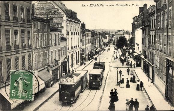 Ak Roanne Loire, Rue Nationale 0