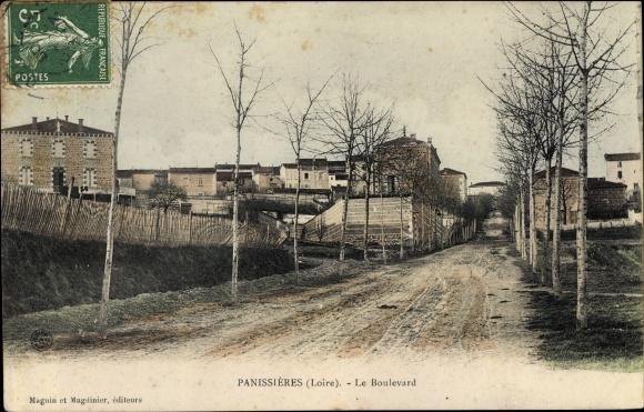 Ak Panissières Loire, Le Boulevard 0