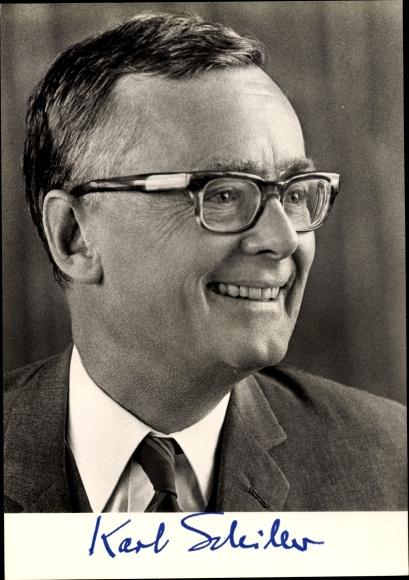 Ak Prof. Dr. Karl  Schiller, Bundesminister für Wirtschaft, SPD 0