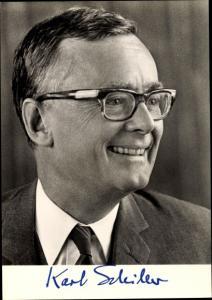 Ak Prof. Dr. Karl  Schiller, Bundesminister für Wirtschaft, SPD