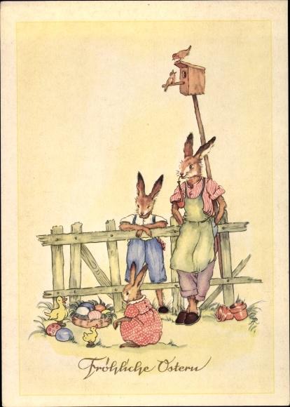 Künstler Ak Glückwunsch Ostern, Osterhasen, Ostereiernest 0