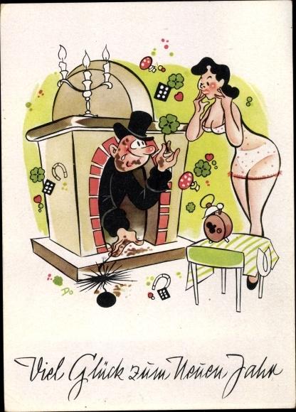 Ak Glückwunsch Neujahr, Schornsteinfeger, Frau in Unterwäsche, Kleeblätter 0