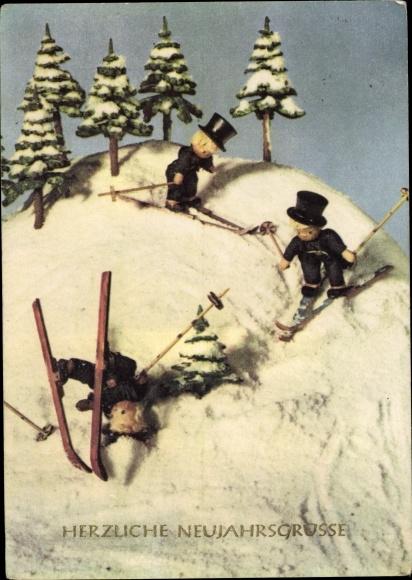 Ak Glückwunsch Neujahr, Schornsteinfeger auf Skiern 0