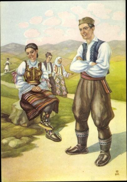 Künstler Ak Vukic M., Serbien, Männer und Frauen in Tracht 0