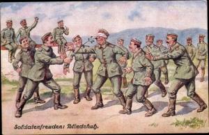 Künstler Ak Hoffmann, Ad., Soldatenfreuden, Blinde Kuh