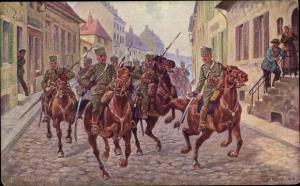 Künstler Ak Trache, R., Vorübergehende Besitzergreifung der Stadt Reims durch 15 deutsche Husaren