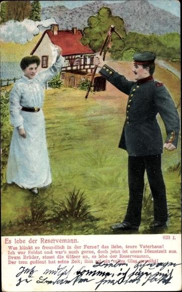 Ak Es lebe der Reservemann, Soldat, Frau 0
