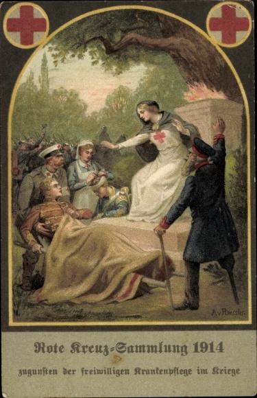 Künstler Ak Roeseler, A., Rote Kreuz Sammlung 1914, Freiwillige Krankenpflege 0