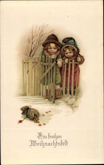 Ak Frohe Weihnachten, Kinder, Geldsack 0