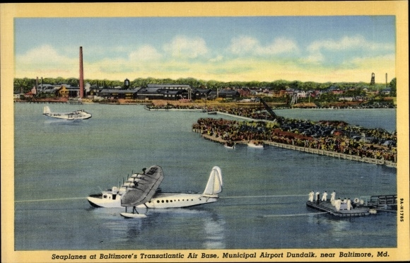 Ak Baltimore Maryland USA, Seaplanes, Municipal Airport Dundalk