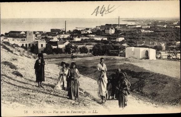 Ak Sousse Tunesien, Vue vers les Faubourgs