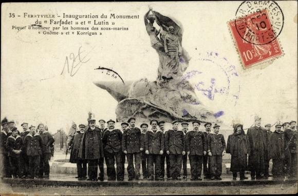 Ak Menzel Bourguiba Ferryville Tunesien, Monument du Farfadet et Lutin, hommes des sous marins