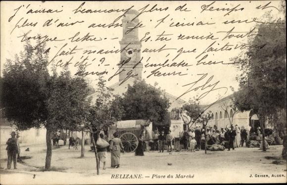 Ak Relizane Algerien, Place du Marché