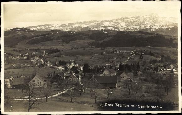 Ak Teufen Kt. Appenzell Ausserrhoden Schweiz, Säntismassiv, Totalansicht