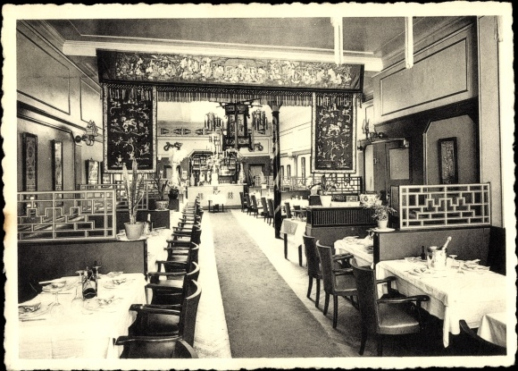 Ak Bruxelles Brüssel, Tea Room Restaurant Shanghai, Rue des Bouchers 25