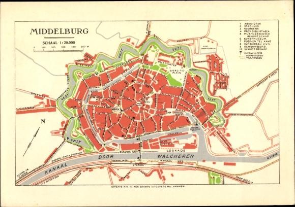 Stadtplan Ak Middelburg Zeeland Niederlande, Plan mit Stadtgraben