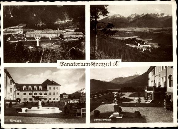 Ak Hochzirl Tirol, Sanatorium, Terrasse, Damenterrasse