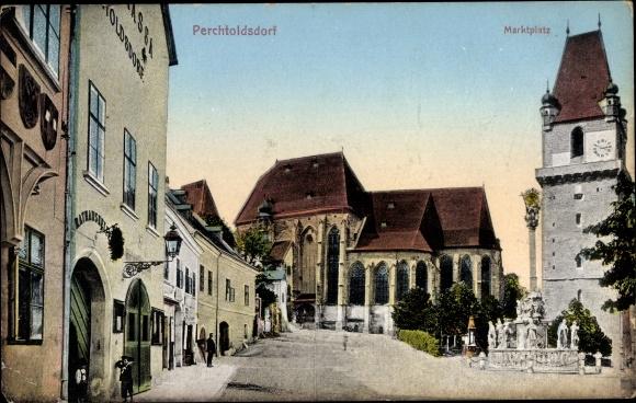 Ak Perchtoldsdorf in Niederösterreich, Marktplatz, Kirche, Rathaus, Rathauskeller