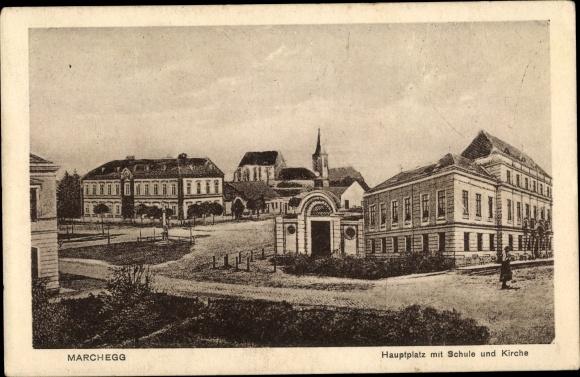 Ak Marchegg in Niederösterreich, Hauptplatz, Schule, Kirche