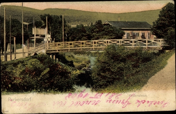 Ak Purkersdorf in Niederösterreich, Kellerwiese, Brücke
