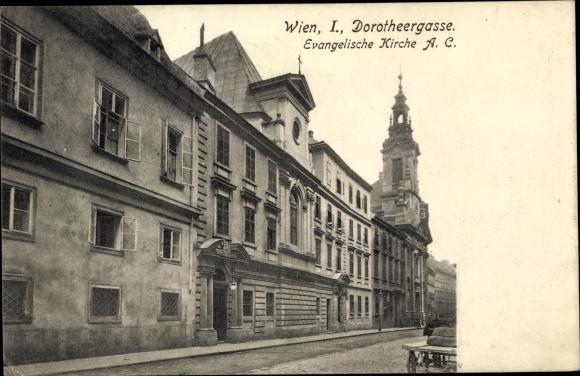 Ak Wien 1. Innere Stadt Österreich, Dorotheergasse, Ev. Kirche AC