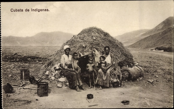 Ak Kap Verde, Cubata de Indigenas, Familie vor Hütte