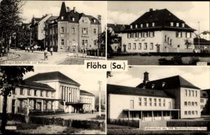 Ak Flöha in Sachsen, August Bebel Straße und Rathaus, Postamt, Bahnhof, Lehrkombinat
