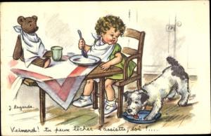 Künstler Ak Lagarde, J., Mädchen mit Hund und Teddy zu Tisch