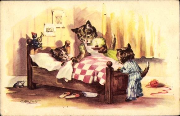 Künstler Ak Vermenschlichte Katzen, Bett