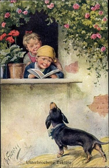 Künstler Ak Feiertag, Karl, Kinder am Fenster, Dackel