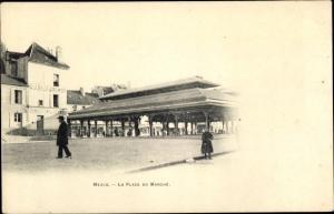 Ak Meaux Seine et Marne, Place du Marché