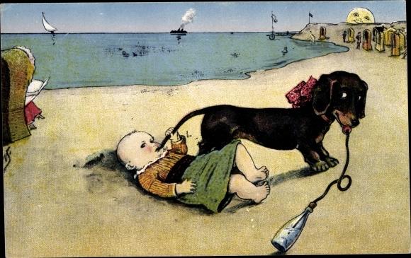 Künstler Ak Dackel und Kleinkind am Strand, Nuckelflasche