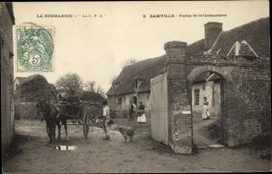 Ak Damville Eure, Ferme de la Cocharderie, caleche, chien