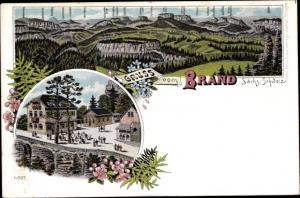 Litho Brand Hohnstein in der Sächsischen Schweiz, Gasthaus, Gebirge