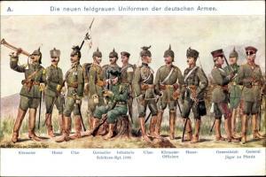 Künstler Ak Henckel, Carl, Die neuen feldgrauen Uniformen der deutschen Armee