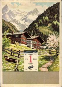Künstler Ak Sonne Kohlebriketts Reklame, Kalender, 01. Januar, Alpenszene