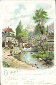 Litho Wassermühle, Frühlingsszene, Wasserpartie