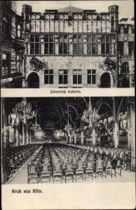 Ak Köln am Rhein, Gürzenich, Innenansicht, Fassade