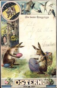 Litho Glückwunsch Ostern, Osterhasen, Ostereier, Schwalben, Sternzeichen Stier