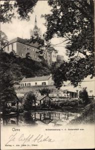 Ak Kleve am Niederrhein, Schwanenburg von der Gasanstalt aus